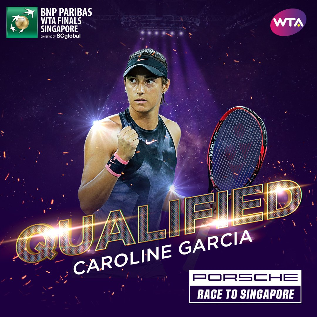 .@CaroGarcia has grabbed the last singles spot at @WTAFinalsSG--> https://t.co/JY556988Xm: ✈️���� @Porsche https://t.co/8XszlJsrPz