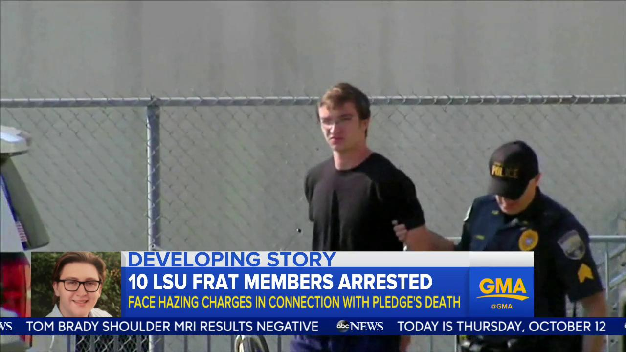 WATCH: Ten LSU frat members arrested; face hazing charges in connection with pledge's death: https://t.co/qVRsEWusUm https://t.co/bkSVHv899w