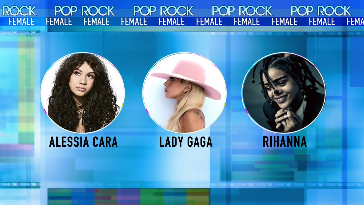 Nominees for @AMAs Best Female Pop/Rock Artist - @alessiacara- @ladygaga- @rihanna#AMAs