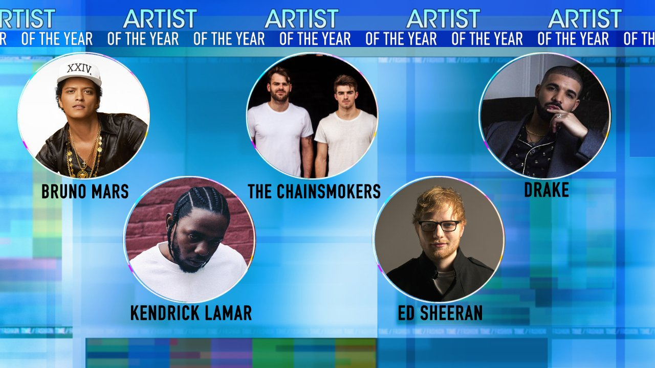 Nominations @AMAs Artist of the Year: - @BrunoMars   - @TheChainsmokers - @Drake - @kendricklamar - @edsheeran #AMAs https://t.co/enz7e5GYvP