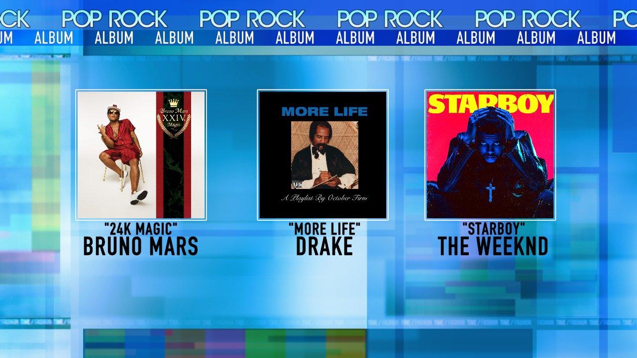 Nominations @AMAs Best Pop/Rock Album: - @BrunoMars - @Drake  - @theweeknd #AMAs https://t.co/uhvKJ08s4B