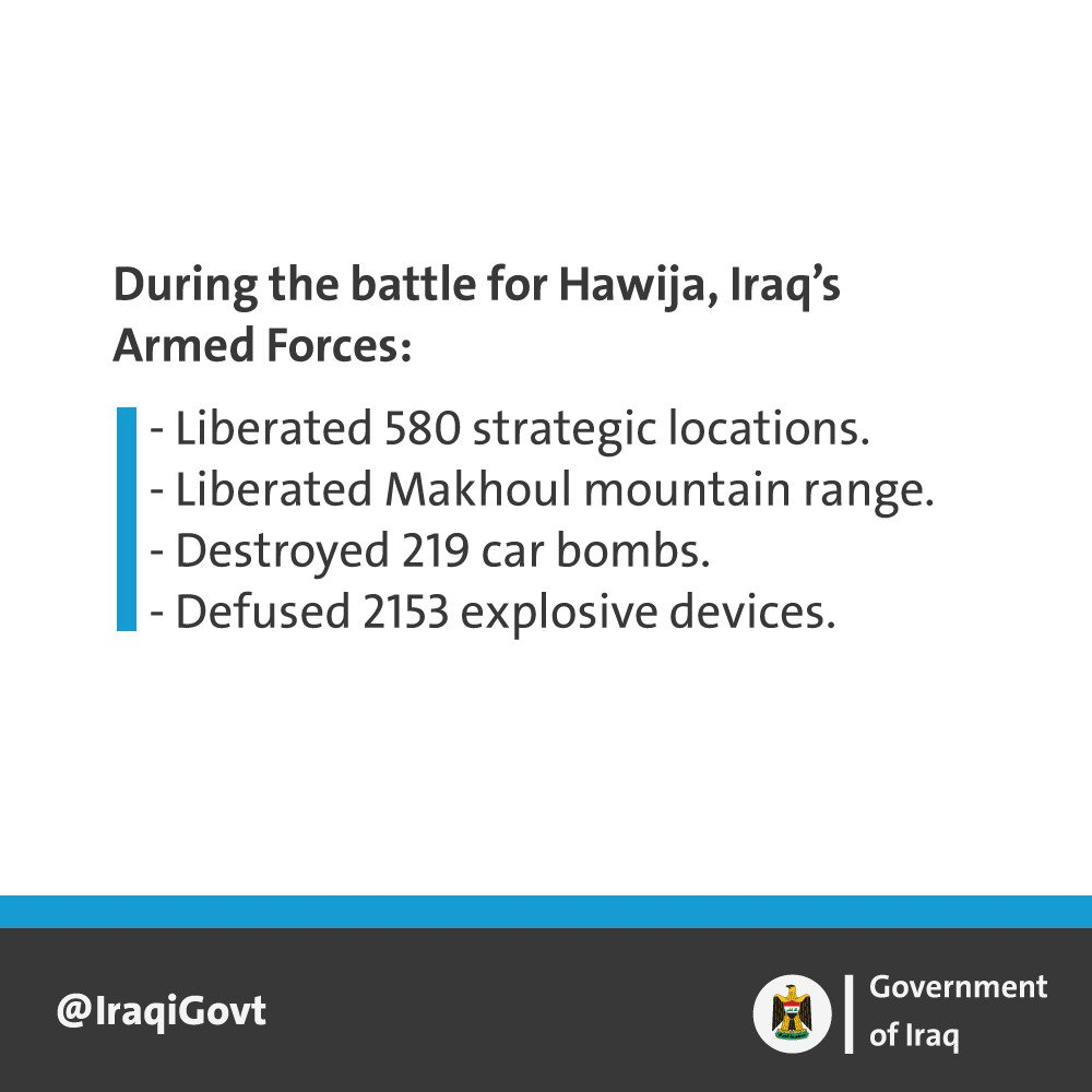 Rt iraqigovt in the battle for hawija the armed forces inflict another defeat over daesh https t co hohij51b8r