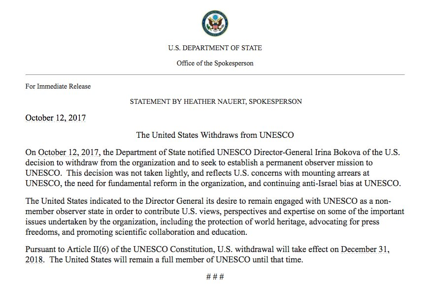 NEW The U.S. is withdrawing from UNESCO, the U.N.'s cultural organization, citing anti-Israel bias