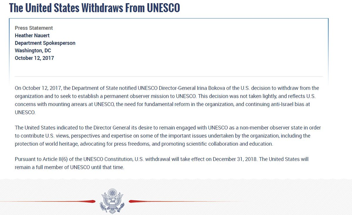 JUST IN US says it is withdrawing from the UN Educational, Scientific and Cultural Organization (UNESCO).