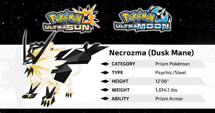 Dusk Mane Necrozma's high Attack stat greatly exceeds that of Solgaleo! #PokemonUltraSunMoon https://t.co/NPRiySu5Ml