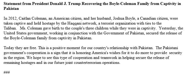 JUST IN: President Trump statement on release of Caitlan Coleman and family https://t.co/1LPatbhhUO