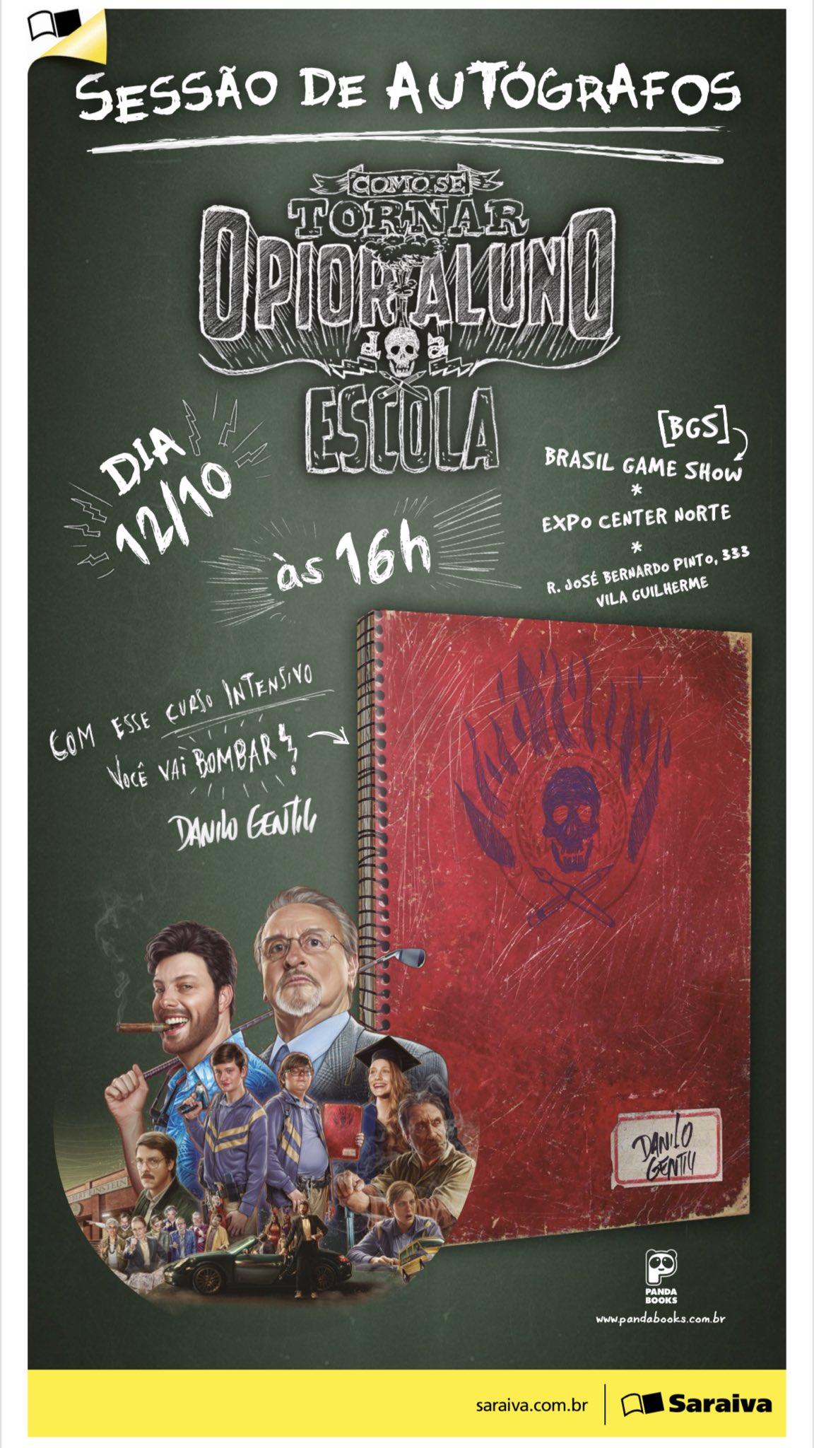 HOJE TEM:  - Estréia do Filme nos cinemas   - Sessão de autógrafos do livro as 16:00 na @Saraiva da @BrasilGameShow https://t.co/iM6sp9w1WW