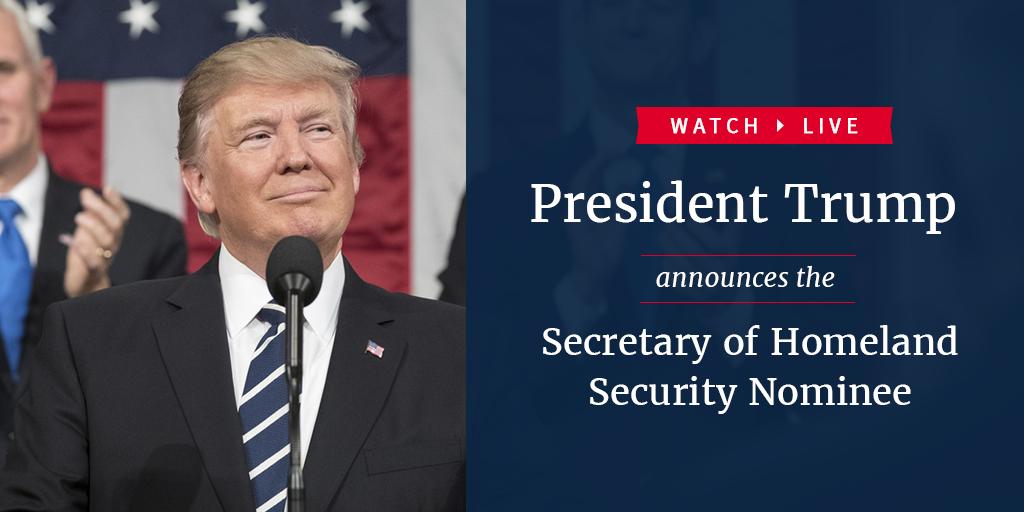 Watch LIVE as President Trump announces the Secretary of Homeland Security Nominee: https://t.co/HFBDVgBTkD https://t.co/cpR16JTqdP