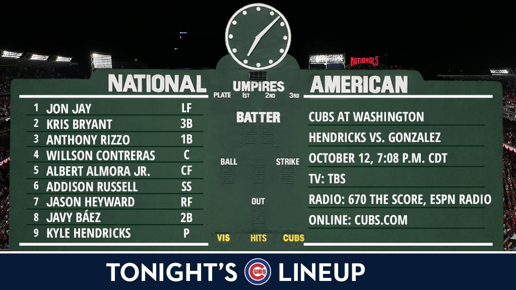 Here is tonight's #Cubs starting lineup.  NLDS Game 5 preview: https://t.co/laC2P5VspB #FlyTheW https://t.co/xgAyxcoe3A