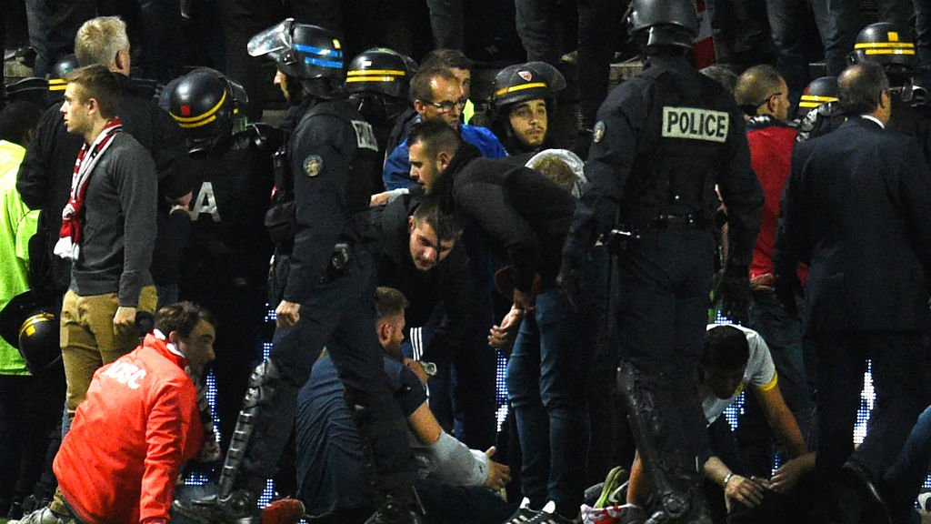 Football fans hurt as barrier collapses in French league game