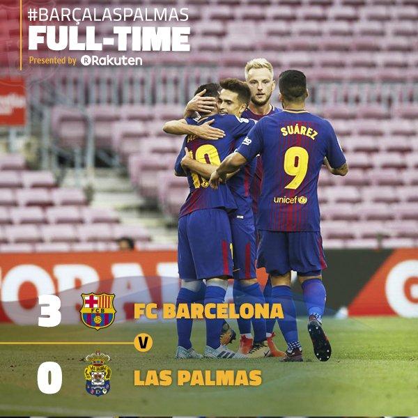 �� Final whistle at Camp Nou! ⚽️ #BarçaLasPalmas (3-0) ↪️ �� Sergio, Messi (x2) ���� #ForçaBarça https://t.co/nhcNgILtYK