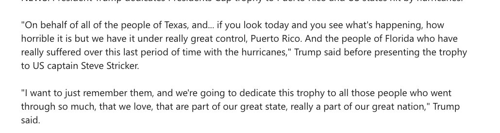 Pool: President Trump dedicates Presidents Cup trophy to Puerto Rico and US states hit by hurricanes https://t.co/wgV6euoHNK