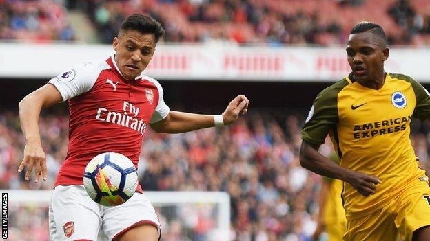 Arsenal beats Brighton & Hove Albion to go 5th