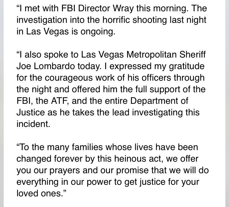 JUST IN: Statement from Attorney General Jeff Sessions on Las Vegas shooting... https://t.co/HffEeDLCfc