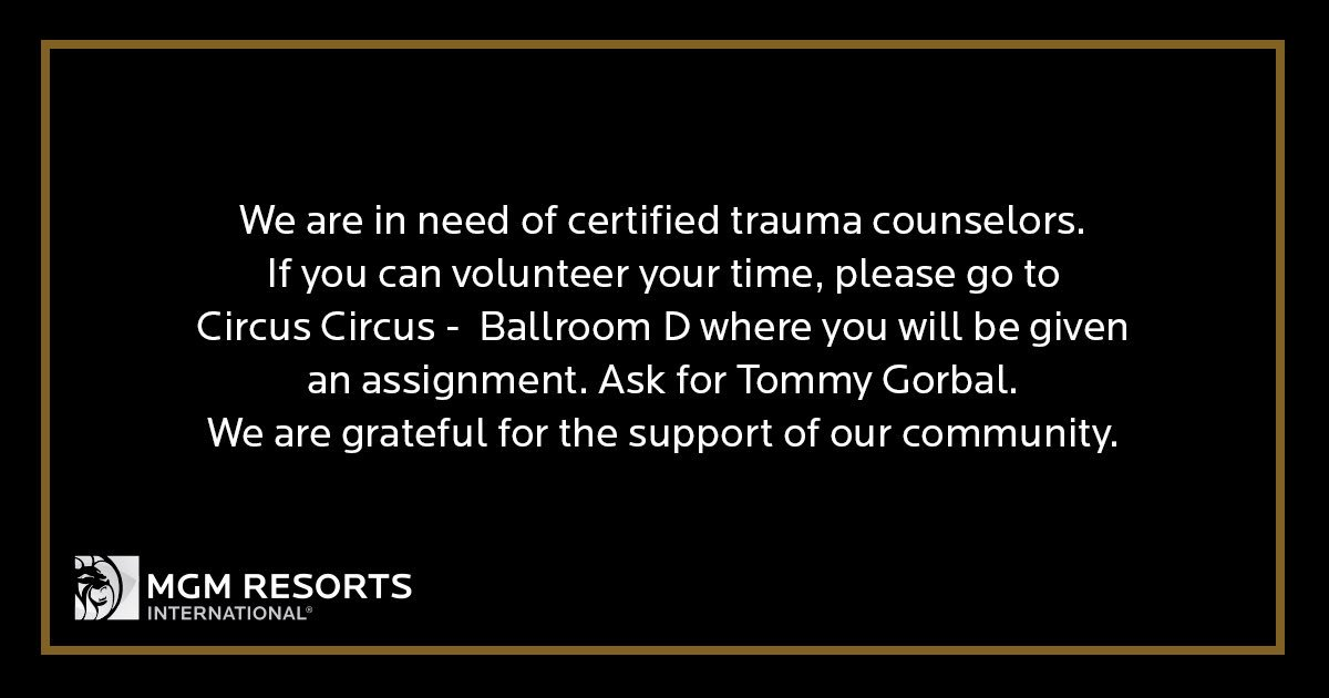 RT @MandalayBay: We are in need of certified trauma counselors. https://t.co/zroSqEoc1T