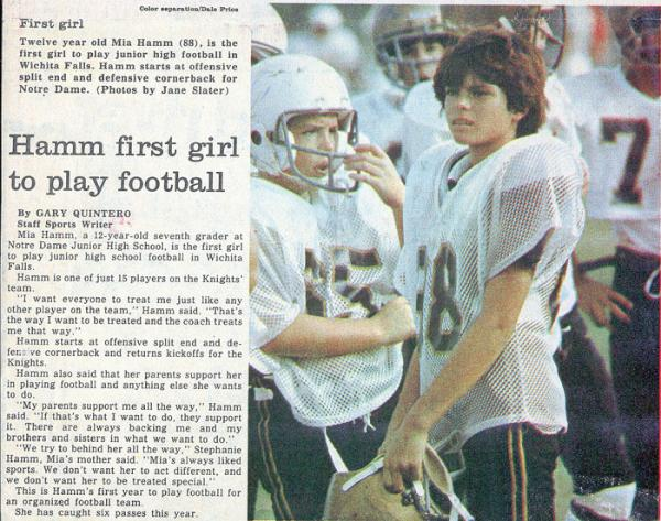 Fun fact: @MiaHamm was the first girl to play football on her junior high school team: https://t.co/JBDyt8ac5J