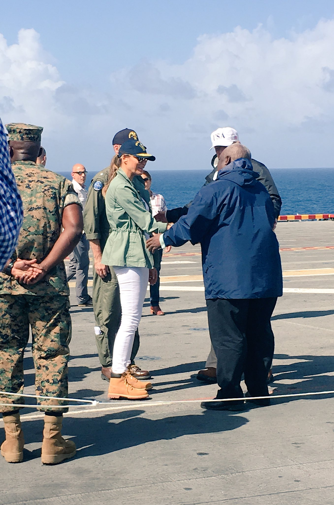 .@POTUS and @FLOTUS meet Gov. Mapp (USVI) on the USS Kearsarge. He was very pleased with federal response efforts. https://t.co/9iP66u46XZ