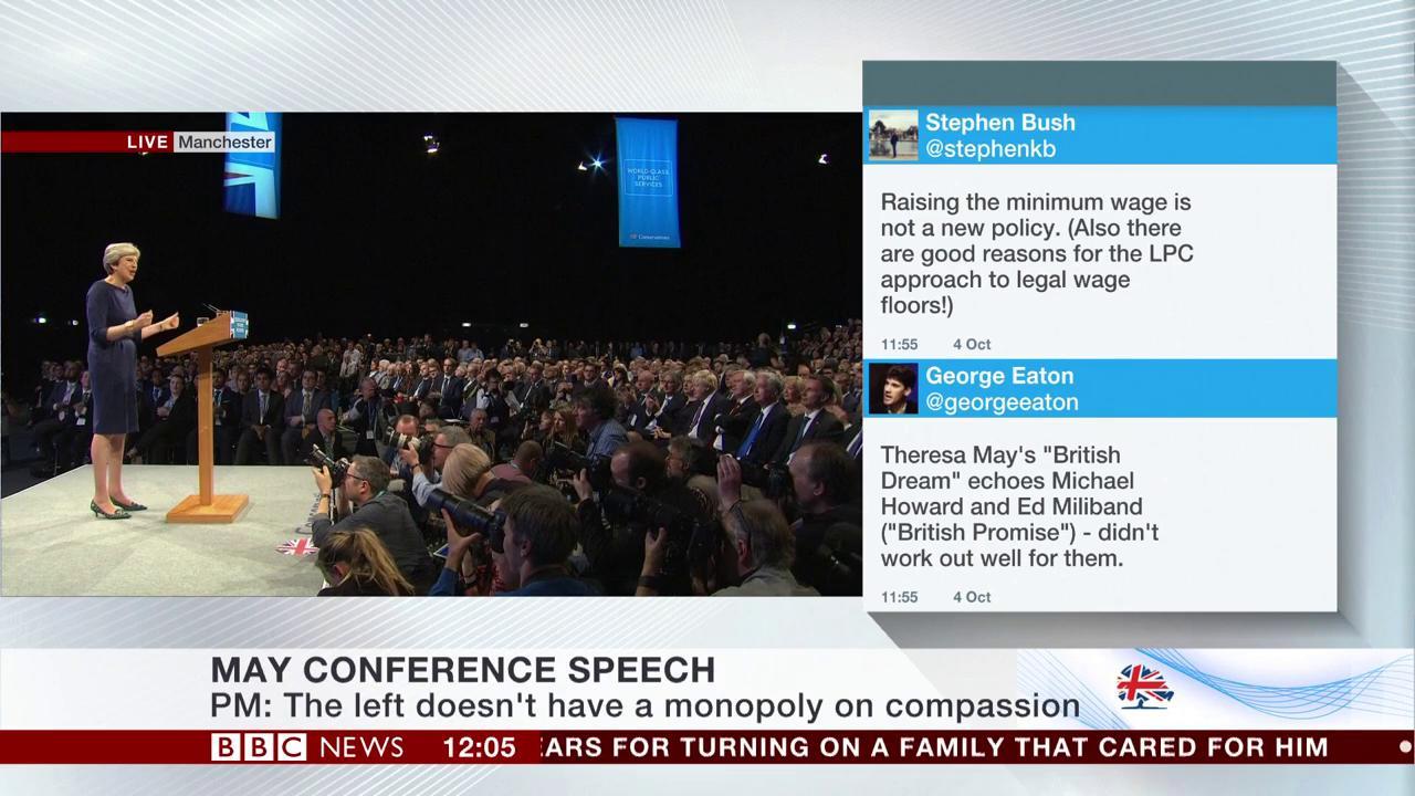 Protester interrupts Theresa May's keynote speech by handing her a P45 #CPC17 https://t.co/Cv0CO1Yx9h https://t.co/C1LNTFHrHl