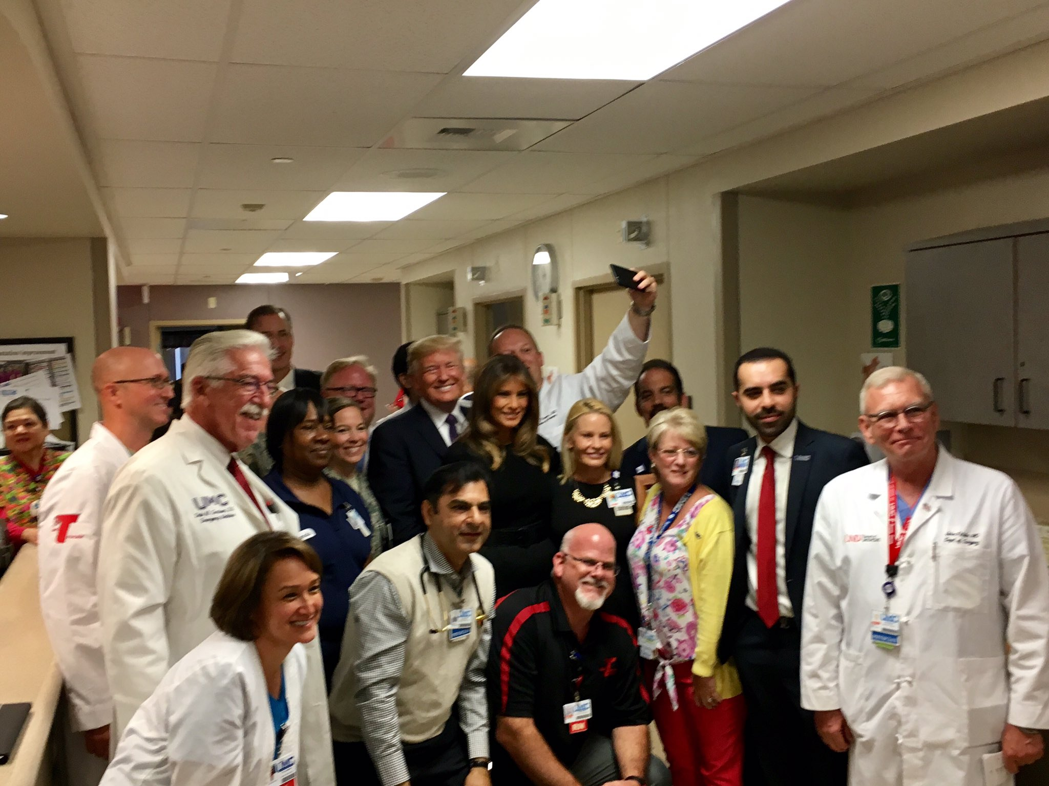 .@POTUS and @FLOTUS met with members of the Trauma Team at UMC who treated over 100 people. #VegasStrong https://t.co/KJxOyWiBcC