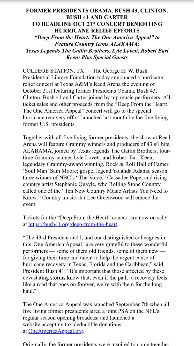 Inbox: All Five Living Fmr U.S. Presidents to Attend Hurricane Relief Concert Oct 21st at TAMU https://t.co/Y0xVxZs1e7