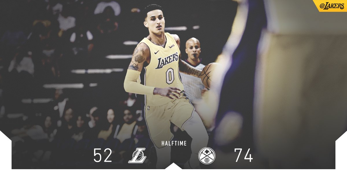 Kuzma leads the way with 12 points at the half. JC is right behind with 11. https://t.co/cnHmGUul7P