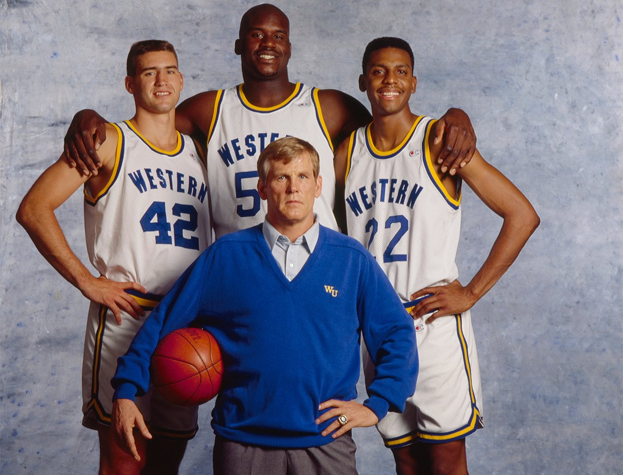 Ricky Roe, Neon Boudeaux and Butch McRae pose with Western coach Pete Bell during a 1993 SI photo shoot. https://t.co/DpFBb8MrA8
