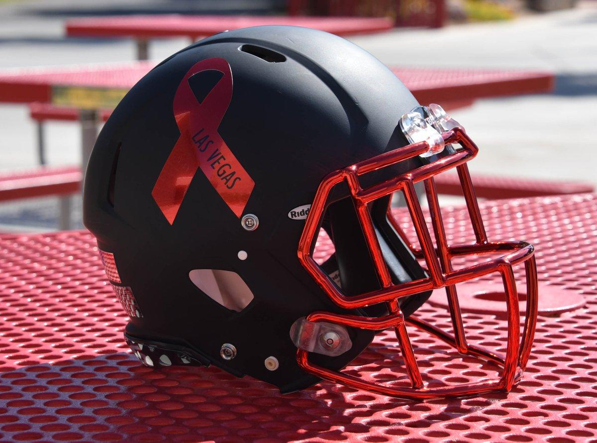UNLV will wear special helmets Saturday to honor the victims and heroes in Las Vegas. (via @UNLVathletics) https://t.co/wXyTpqLX8A