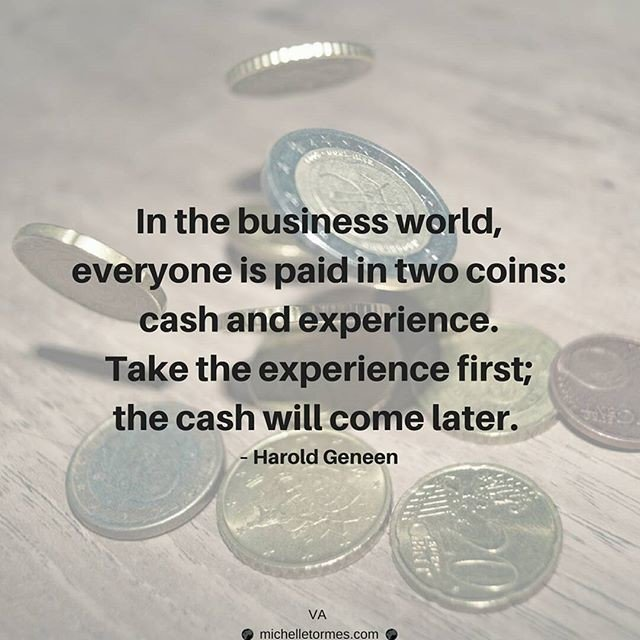 Reposting @virtual.assistant_mt: In the business world, everyone is paid in two coins: cash and experience. Take the experience first; the https://t.co/tG5BRTcrsJ