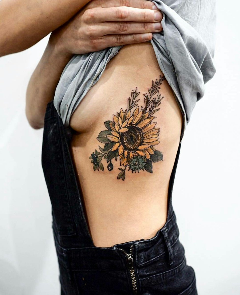 Black and white sunflower tattoo shoulder