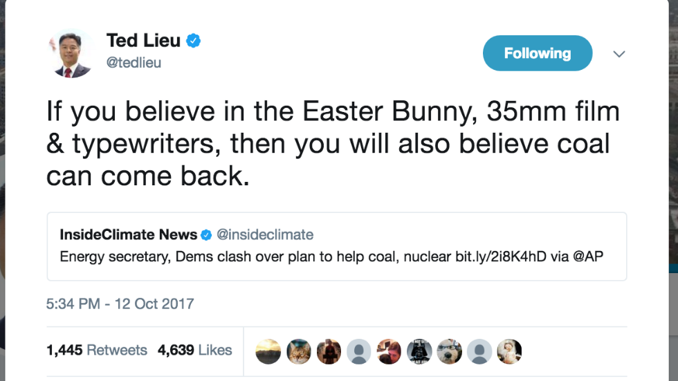 Dem lawmaker: If coal is coming back then the Easter Bunny is real https://t.co/QxiTldr0uA https://t.co/vEMcVnFtqM