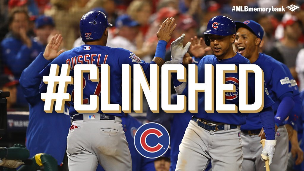 Hey, Chicago, what do you say? The defending champs are headed back the #NLCS! #CLINCHED https://t.co/sWsOGINHQW