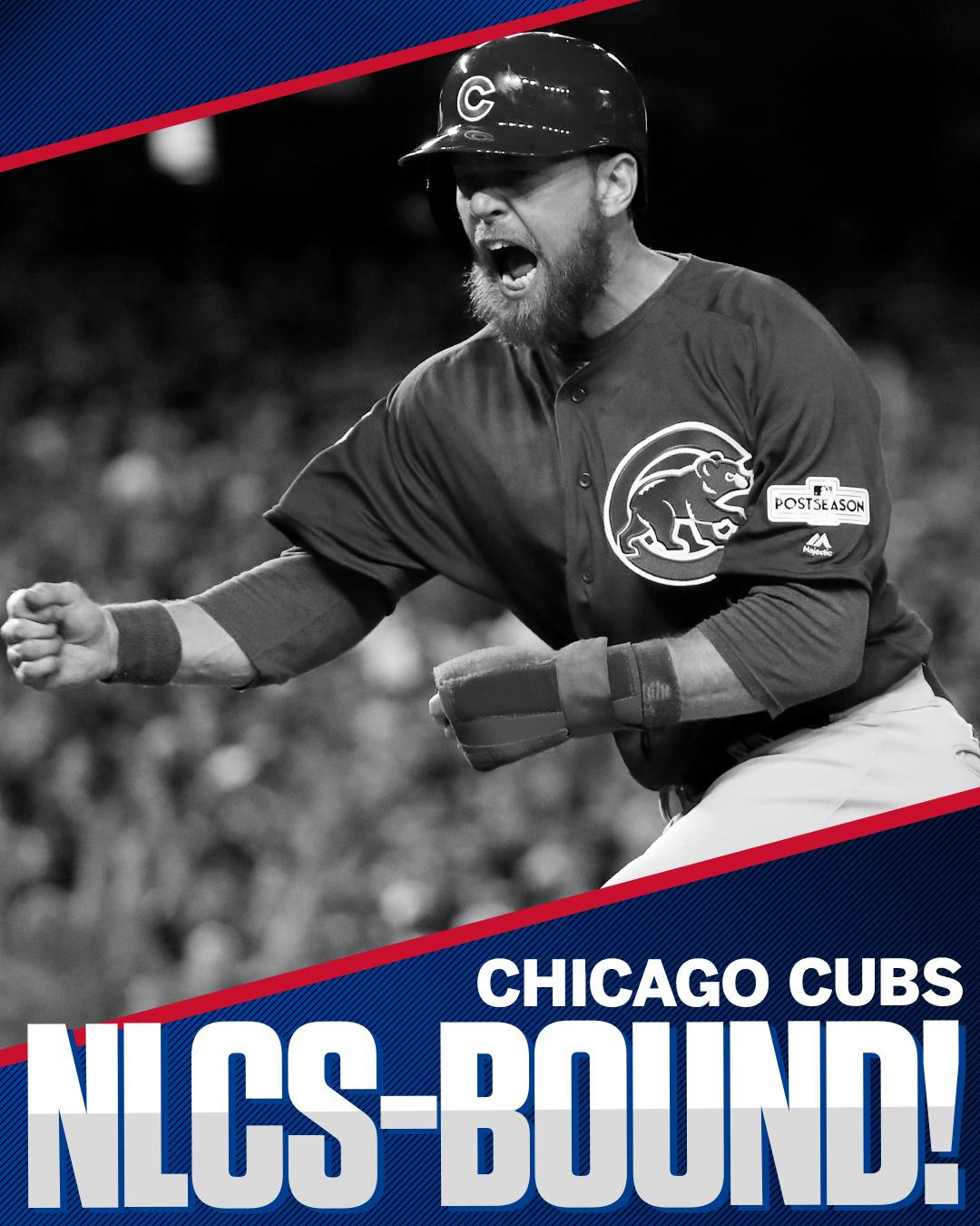 Fly the W!  The Cubs are headed to the NLCS for the 3rd straight season. https://t.co/fDJD7MyQTe