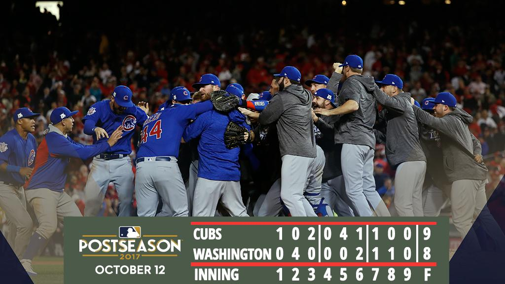 #Cubs return to NLCS with wild win over #Nationals.  Recap: https://t.co/XpolYkyClZ https://t.co/e2Jv3WqkLG