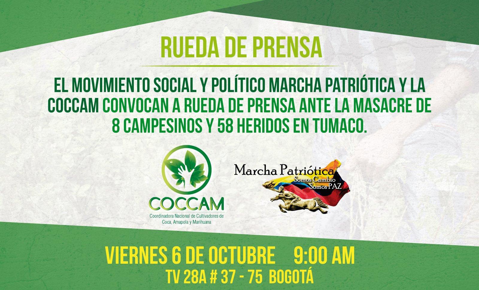 #SolidaridadVíctimasTumaco | #MAÑANA Rueda de prensa ante la masacre de 8 campesinos y 58 heridos en Tumaco �� https://t.co/yOA1KmO4iA