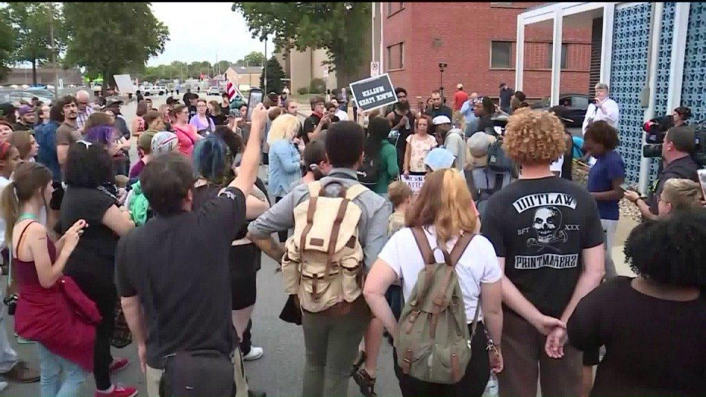 Protesters march outside St. Louis police union in south city