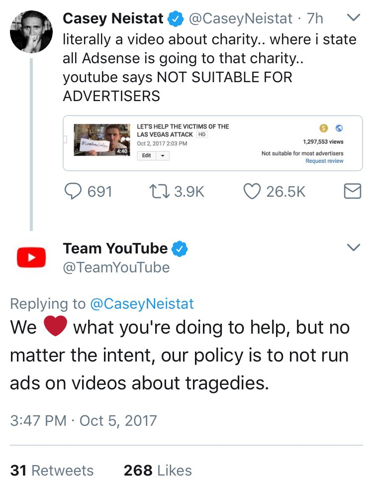 Dear @YouTube @TeamYouTube,Your response is bullshit. It's not true. People are tired this. Be better.