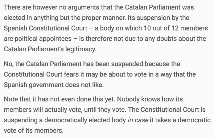 Former UK Ambassador Craig Murray on the suspension of #Catalonia's parliament next Monday