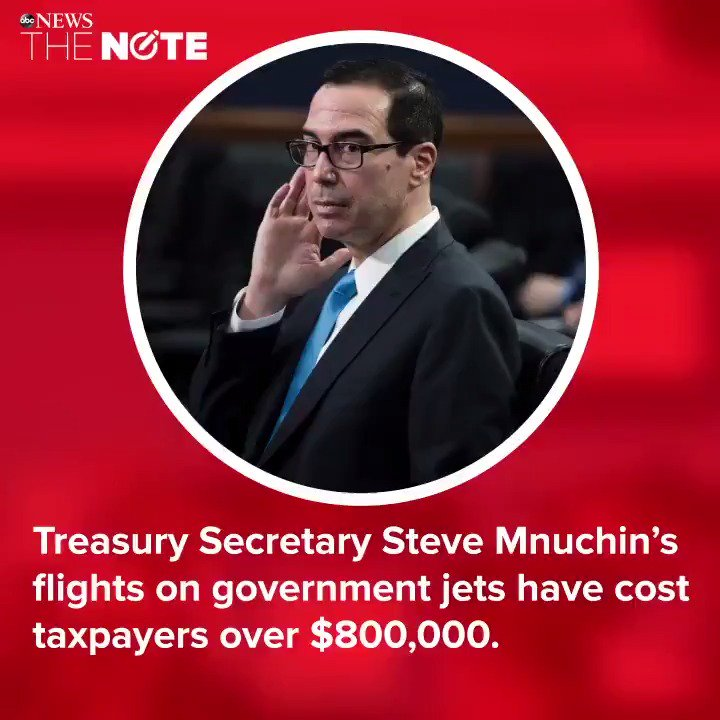 Treasury Sec. Steven Mnuchin's flights on government jets have cost taxpayers over $800,000.