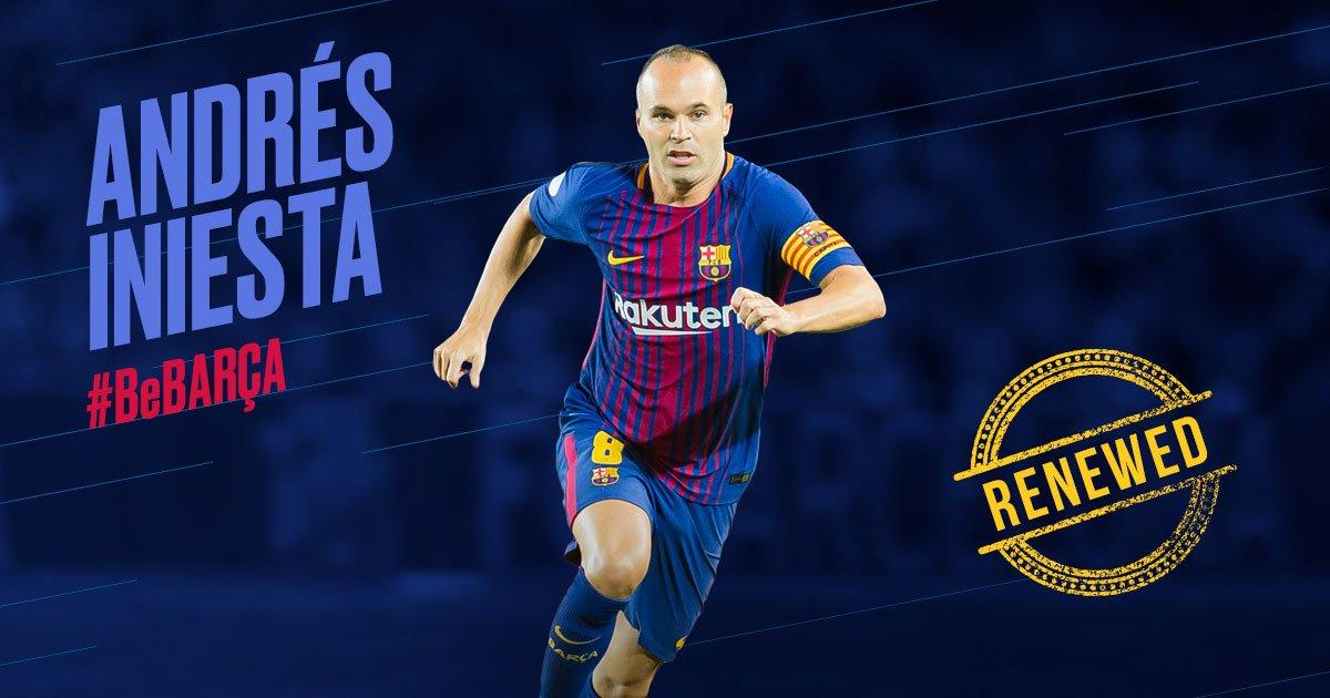 [BREKING NEWS] ⚠️ The captain @andresiniesta8 renews for live at FC Barcelona #ForeverIniesta https://t.co/6SjNgxggGp