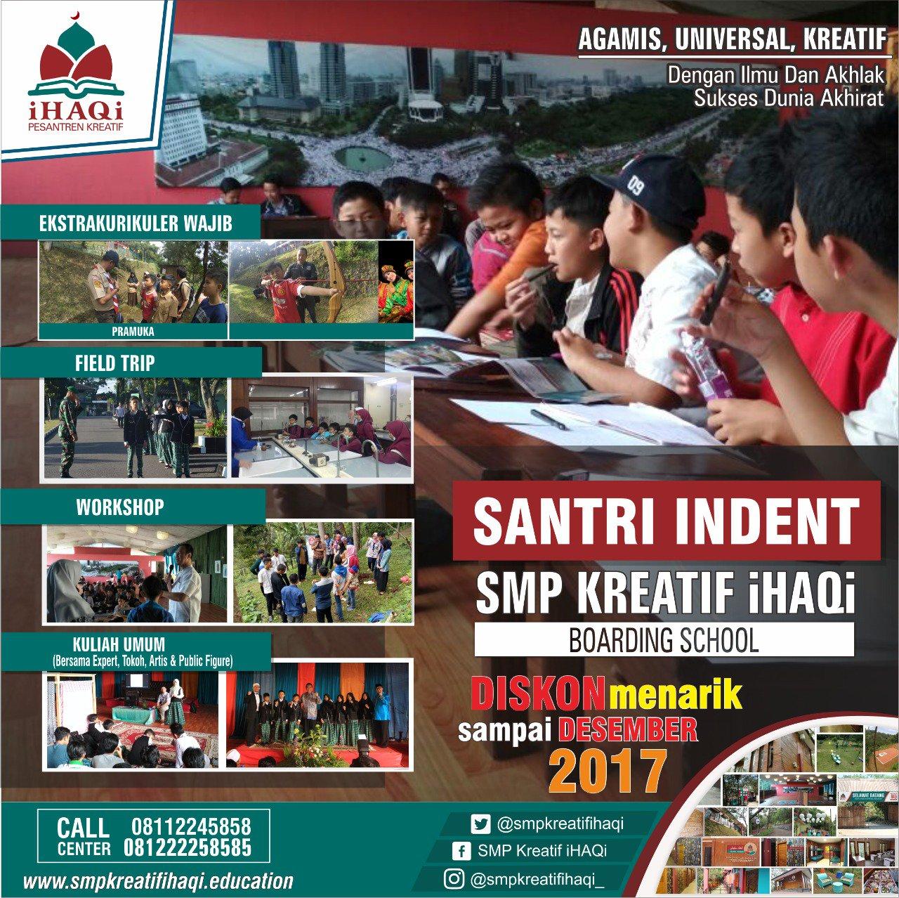 Segera daftar santri indent SMP Kreatif iHAQi Lembang Bandung  https://t.co/FHVP2RHktR https://t.co/EglndeATc9