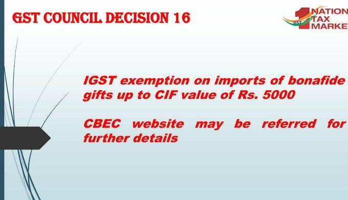 GST Council Decision 16