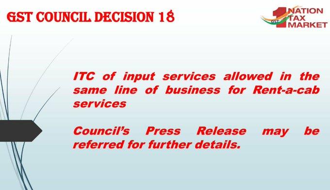 GST Council Decision 18