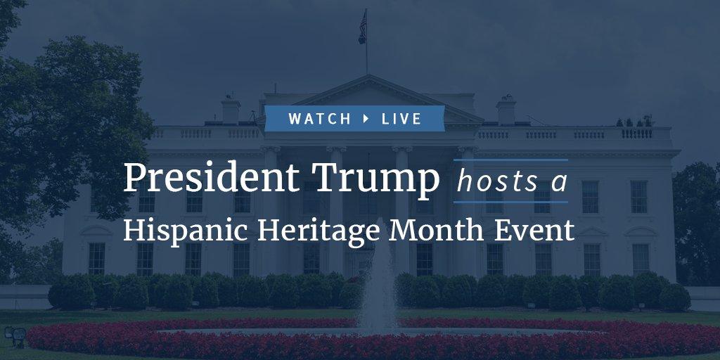 Watch LIVE as President Trump hosts a Hispanic Heritage Month event: https://t.co/vyrU1XEGLV https://t.co/XmZjPJLvJ4