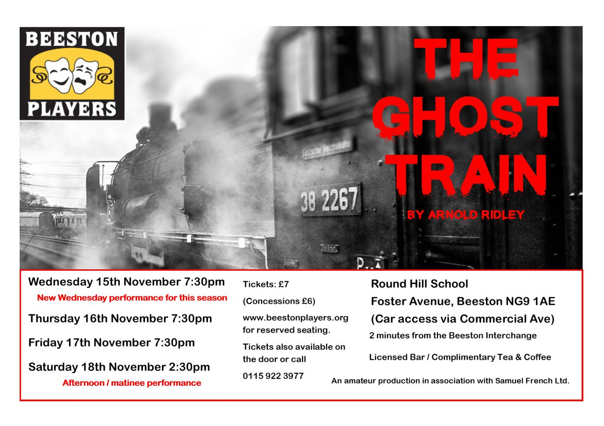 test Twitter Media - @BeestonPlayers The Ghost Train Nov 15,16,17 & 18. Tickets at https://t.co/iwQB84OaZI  #Drama #NG9 #Beeston https://t.co/B1GSiM50US