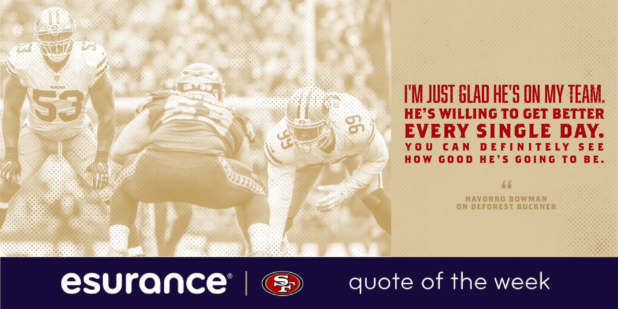 ���� @NBowman53 with the @esurance Quote of the Week on @DeForestBuckner ���� https://t.co/4OcUMdo9Dw
