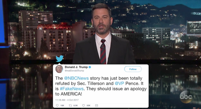 Kimmel fires back at Trump: 'No breathing human on earth' produces more fake news than you https://t.co/EBsJYSsPse https://t.co/R7y7wENJTH