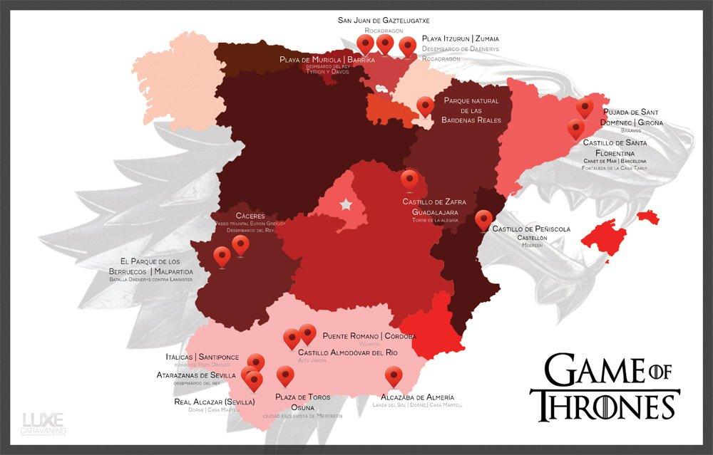 Un mapa de España recoge todas las localizaciones que aparecen en la serie @JuegoDeTronosTM  https://t.co/iOIcpVAl4O https://t.co/dgCAycqdij