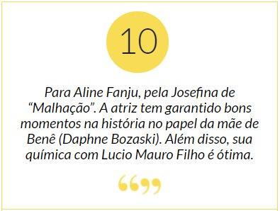 """Aline Fanju. Foto do site da Patrícia Kogut que mostra Nota 10 para Aline Fanju, pela Josefina de """"Malhação"""". Mais em:"""