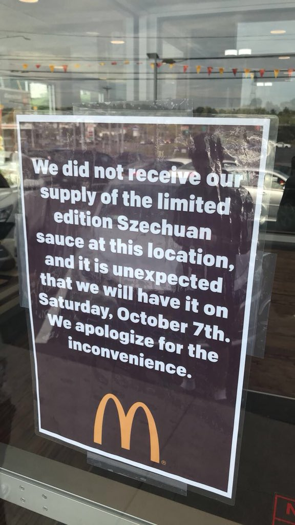 I drove over an hour for this. Extremely disappointed. #notmyrestaurant #szechuansauce @McDonalds https://t.co/i2zh6nKn7a