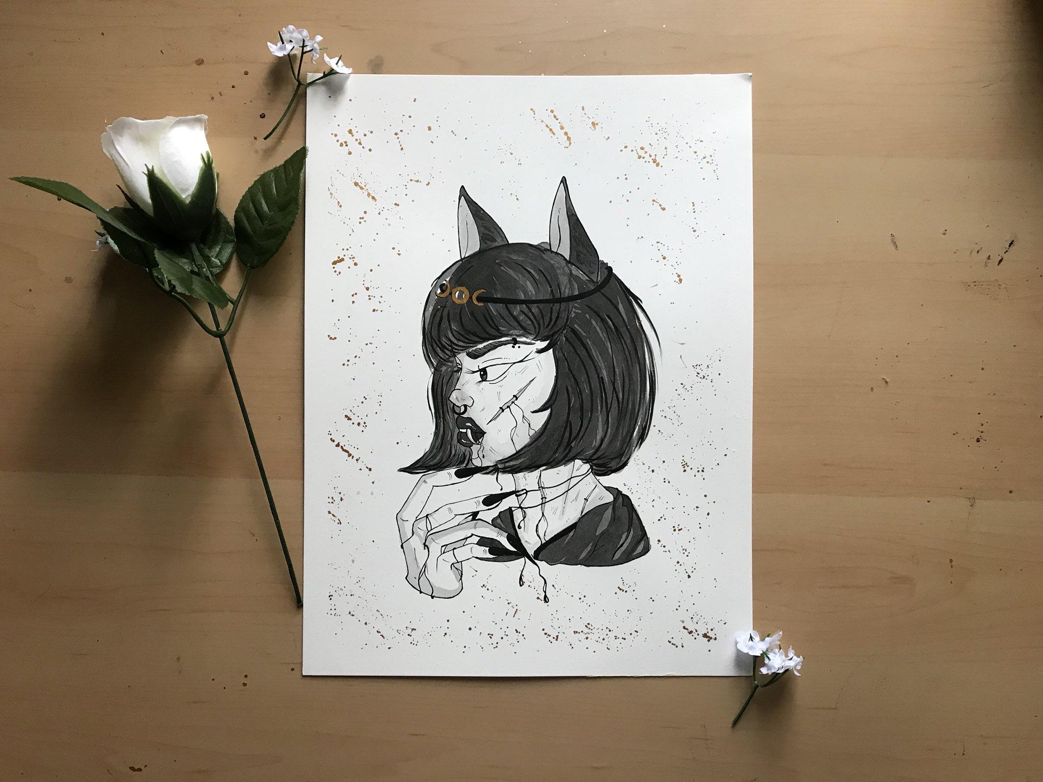 "Inktober Day 7: ""Dire Wolf Girl""  Seems fitting doesn't it? She's a beauty. ���� https://t.co/xsHlqw6u8p"